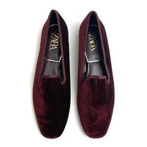 Zara Burgundy Red Velvet Smoking Loafers Flats 40